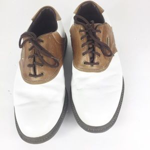 Footjoy Mens White Two Toned Lace Up Golf Shoes